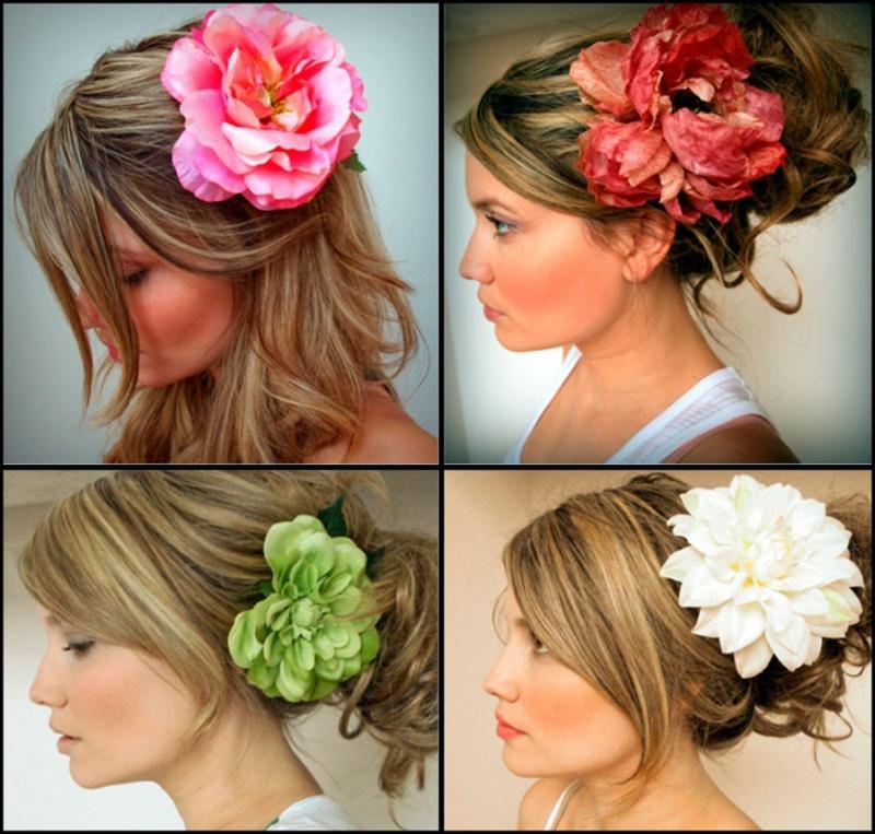 Цветок в волосах своими руками